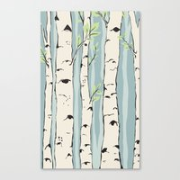 birch Canvas Prints featuring Birch by Marlene Pixley