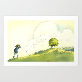 Cloudy Tree Art Print