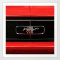 mustang Art Prints featuring Mustang by Barbo's Art