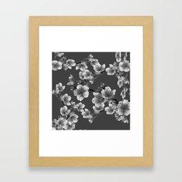 CHARCOAL GREY GARDEN  FRUIT TREES FLOWERS Framed Art Print