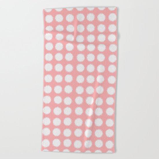 milk glass polka dots pink Beach Towel