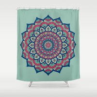 islam Shower Curtains featuring Mandala Blue by Mantra Mandala