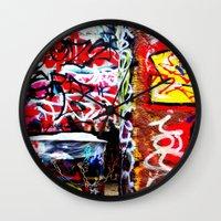 grafitti Wall Clocks featuring Grafitti by Emily Dolenz Photography
