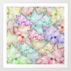 Whimsical Girly Pastel Watercolor Flowers Pattern Art Print