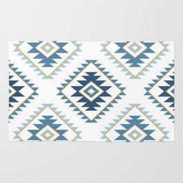 Aztec Style Motif Pattern Blues White Gold Rug