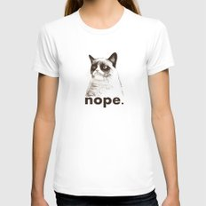 NOPE - Grumpy cat. White MEDIUM Womens Fitted Tee