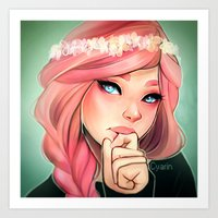 cyarin Art Prints featuring Pink and Flowers by Cyarin