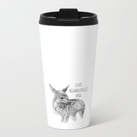 Deer Illustration By Magda Opoka Metal Travel Mug