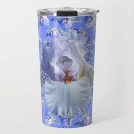 BLUE-WHITE IRIS ABSTRACT PATTERN Travel Mug