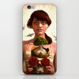Woman holding skull with roses and a tree - Titled: Transitions iPhone Skin