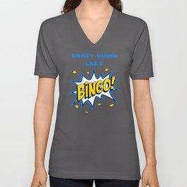 Crazy Bingo Lady Unisex V-Neck