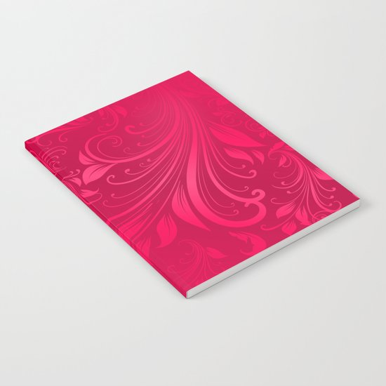 Pink swirls leaves Notebook