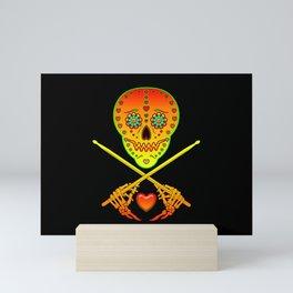 Neon Sugar Skull Drummer. Mini Art Print