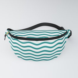 Teal and White Chevron Wave Fanny Pack
