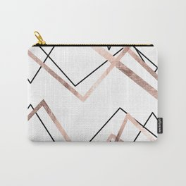 Rose Gold White Linear Triangle Abstract Pattern Carry-All Pouch