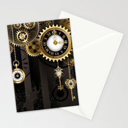 Antique Clock with Keys ( Steampunk ) Stationery Cards