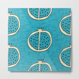 Pop Mod Pomegranate Blue Metal Print