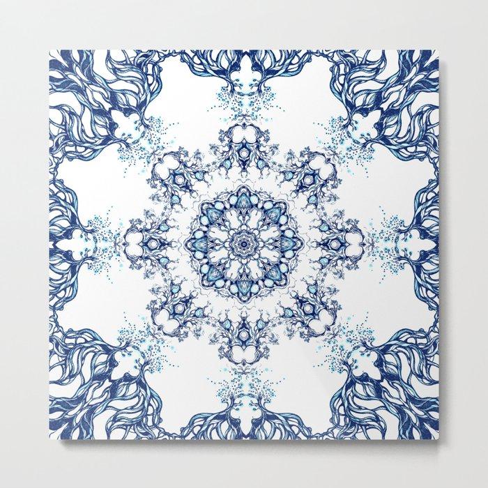 blue garden mandala Metal Print