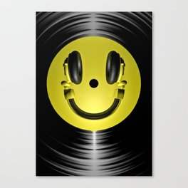 Vinyl headphone smiley Canvas Print