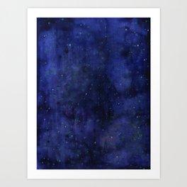 Galaxy Watercolor Nebula Texture Night Sky Stars Art Print