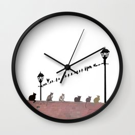 Cats and Birds Wall Clock