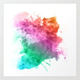 Watercolour splatter in rainbow colours Art Print