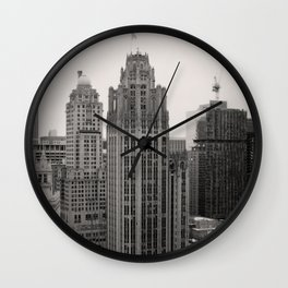 Chicago Tribune Tower Building Black and White Photo Wall Clock