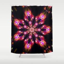 Purple Fire Snowflake Shower Curtain