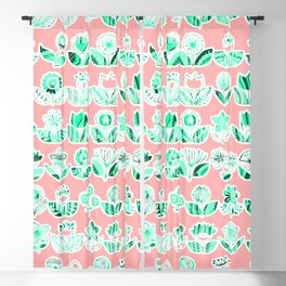 Pink and mint doodle flowers print, nature print, floral print Blackout Curtain