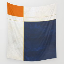 Orange, Blue And White With Golden Lines Abstract Painting Wall Tapestry