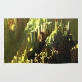Urban landscape city mountain intricate pattern texture 3d illustration sunset digital painting Rug