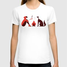 Little Red and Big Bad Womens Fitted Tee MEDIUM White