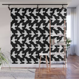 Fly black and white birds flying minimalist pattern art print Wall Mural