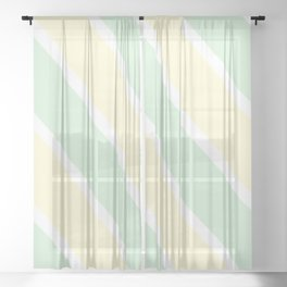Yellow and Green Stripes Sheer Curtain