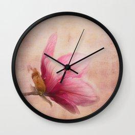 Pink Magnolia I - Flower Art Wall Clock