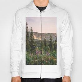 Mount Rainier Wildflower Adventure VII - Pacific Northwest Mountain Forest Wanderlust Hoody