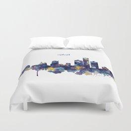 Detroit Skyline Silhouette Duvet Cover