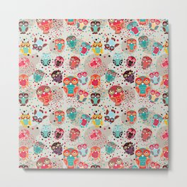pattern with colorful owls on cream background Metal Print