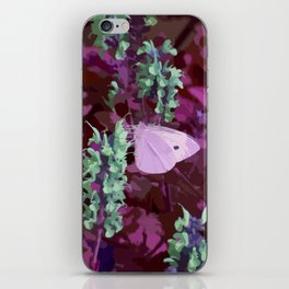 Pink Moth on Green Sage Flowers Painted Photograph iPhone Skin