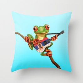Tree Frog Playing Acoustic Guitar with Flag of Serbia Throw Pillow