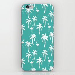 Tropical flamingo and palm trees pattern by andrea lauren cute illustration summer patterns turq iPhone Skin