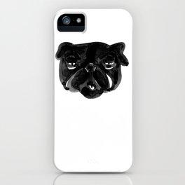 Black and white Pug Dog modern iPhone Case