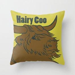Scottish Hairy Coo (Green) Throw Pillow