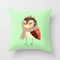 owl Throw Pillows featuring  Owl by Ashley Percival illustration
