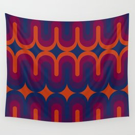 70s Geometric Design - Sunset Swoops Wall Tapestry
