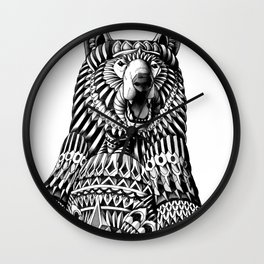 Ornate Grizzly Bear Wall Clock