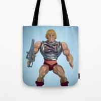 he man Tote Bags featuring He-Man Battle Damage  by Fanboy30