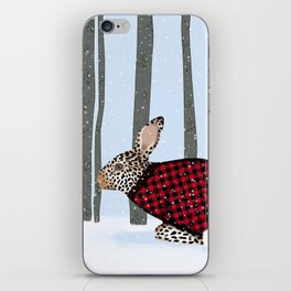 Rabbit Wintery Holiday Design iPhone Skin