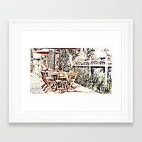 outdoor Framed Art Prints featuring Outdoor Lunch by Losal Jsk