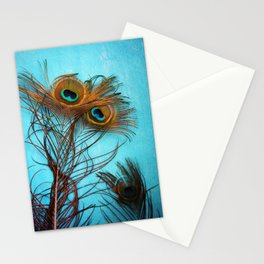 3 peacock feathers Stationery Cards